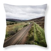 The Railroad To....in Scotland With Clouds Hanging Over The Mountains. Throw Pillow