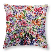 The Rainbow Flowers Throw Pillow