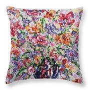 The Rainbow Flowers Throw Pillow