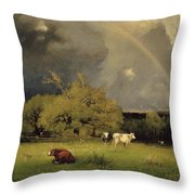 The Rainbow Throw Pillow by George Inness Senior