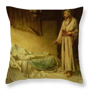 The Raising Of Jairus's Daughter Throw Pillow by George Percy Jacomb-Hood