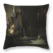 The Raising Of Lazarus Throw Pillow