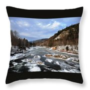 The Rapids In Winter Throw Pillow
