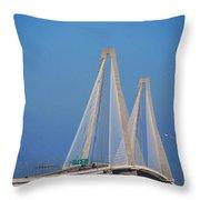 The Ravanel Bridge In Charleston Throw Pillow