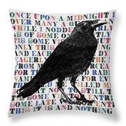 The Raven Poem Art Print Throw Pillow