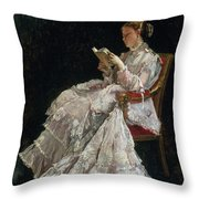 The Reader Throw Pillow by Alfred Emile Stevens