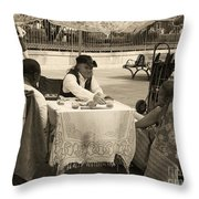 The Realistic Mystic-sepia Throw Pillow