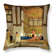 The Reception Throw Pillow by John Frederick Lewis