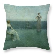 The Recitation Throw Pillow by Thomas Wilmer Dewing
