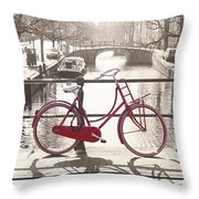 The Red Bicycle Of Amsterdam Throw Pillow