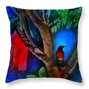The Red Birdhouse Throw Pillow