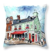 The Red Boat In Beaumaris Throw Pillow
