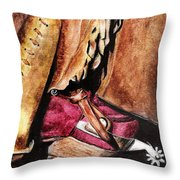 The Red Boot Throw Pillow