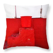 The Red Bucket Throw Pillow