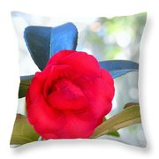 The Red Camellia Throw Pillow