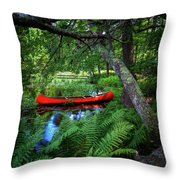 The Red Canoe On The Lake Throw Pillow