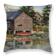 The Red Canoe Throw Pillow