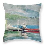 The Red Canoe Throw Pillow by Winslow Homer