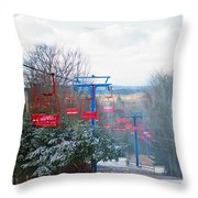 The Red Chairlift Throw Pillow