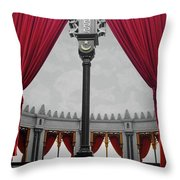 The Red Curtain Throw Pillow