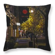 The Red Dot At Night Throw Pillow
