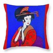 The Red Geisha Throw Pillow