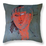 The Red Head Throw Pillow by Amedeo Modigliani