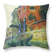 The Red House Throw Pillow by Claude Monet