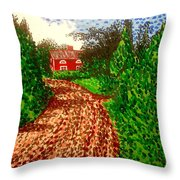 The Red House In Finland Throw Pillow