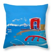 The Red House  La Casa Roja Throw Pillow
