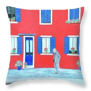 The Red House On The Island Of Burano Throw Pillow