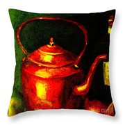The Red Kettle Throw Pillow