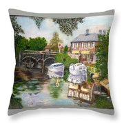 The Red Lion Inn By The Riverbank Throw Pillow