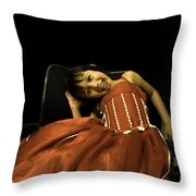 The Red Party Dress Throw Pillow
