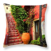 The Red Staircase Throw Pillow by Michael Garyet