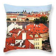 The Red Tile Roofs Of Prague Throw Pillow