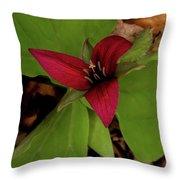 The Red Trillium Throw Pillow