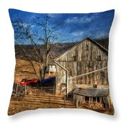 The Red Truck By The Barn Throw Pillow