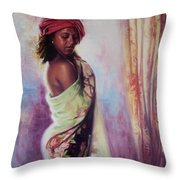 The Red Turban Throw Pillow