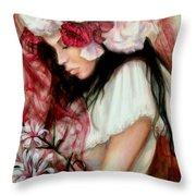 The Red Veil Throw Pillow