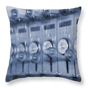The Reel Spools On The Assembly Line In Blue Throw Pillow