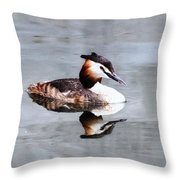 The Reflection Of A Grebe Throw Pillow