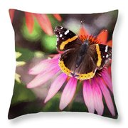 The Regal Red Admiral Throw Pillow