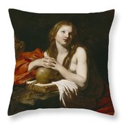 The Repentant Magdalene Throw Pillow by Nicolas Regnier