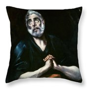 The Repentant Peter El Greco Throw Pillow
