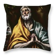 The Repentant Saint Peter Throw Pillow