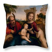 The Rest On The Flight Into Egypt With St. John The Baptist Throw Pillow
