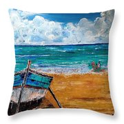 The Resting Boat And The Beach Holidays Throw Pillow