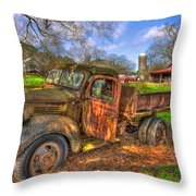 The Resting Place Boswell Farm 1947 Dodge Dump Truck Throw Pillow
