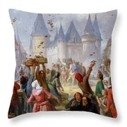 The Return Of Saint Louis Blanche Of Castille To Notre Dame Paris Throw Pillow